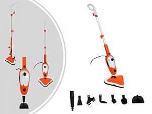 Leogreen – Balai à Vapeur, Nettoyeur à Vapeur Vertical, Orange, 10 en 1, Puissance électrique: 1300W, Type de tête: Tête pivotante à 180°