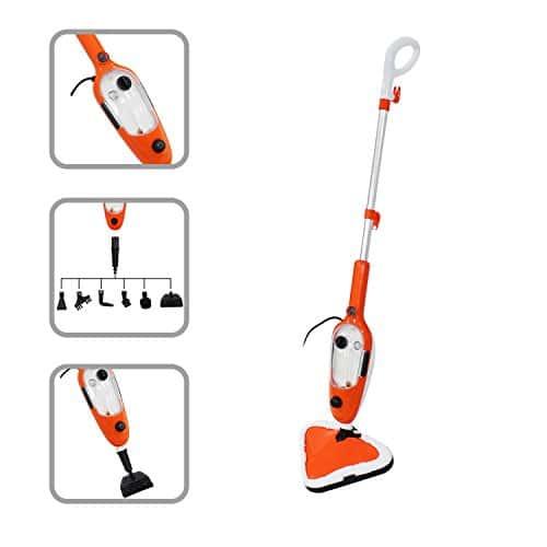 Todeco – Balai à Vapeur, Nettoyeur de Sol à Vapeur – Puissance électrique: 1300W – Matériau: Alliage en aluminium – Orange, 10 en 1