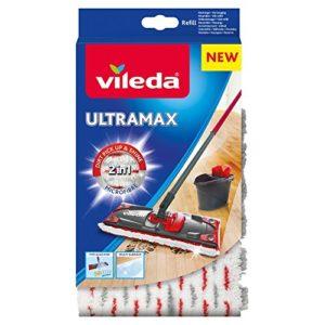 Vileda – Recharge Balai à plat officielle Compatible UltraMax/Ultramat/1.2.Spray – Version 2en1 Microfibre, Blanc et Rouge