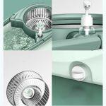 CJSWT Microfibre Spin Mop Bucket et système de Nettoyage étage, avec Roues Spin Mop avec 6pcs Remplacement de têtes de vadrouille Acier Seau 360 ° Magie Spinning Mop,A