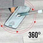CJSWT Mop avec Godet, Mains Libres Pincez Microfibre Plat Mop système 360 ° Flexible tête Mop avec 8 réutilisables Pads pour Microfibre Nettoyage de planchers