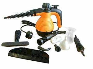 N2 Nettoyeur vapeur portatif multifonction avec 9 accessoires, réservoir de 350 ml, prise britannique 1000 W (orange)