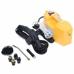 Nettoyeur vapeur portable 2600 W 115 °C haute température avec articulation de buse et pinceau 7 accessoires 300-350 kPa pour la cuisine, le sol (jaune)